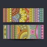 Abstracte vector etnische geplaatste patroonkaarten Stock Fotografie