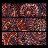 Abstracte vector etnische geplaatste patroonkaarten Stock Foto