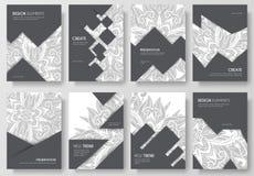 Abstracte vector geplaatste brochurekaarten Het malplaatje van de drukkunst van flyear, tijdschriften, affiches, boekdekking, ban Royalty-vrije Stock Fotografie