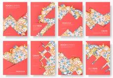 Abstracte vector geplaatste brochurekaarten Het malplaatje van de drukkunst van flyear, tijdschriften, affiches, boekdekking, ban Stock Foto