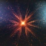 Abstracte vector kleurrijke ruimteachtergrond Explosie van gloeiende deeltjes De ster van Kerstmis Futuristische technologiestijl stock illustratie