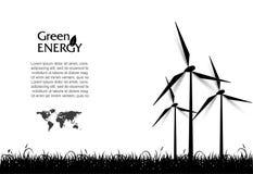 Abstracte vector met windturbines, groen energieconcept Royalty-vrije Stock Fotografie