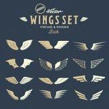 Abstracte Vector Retro Vleugels Grote Reeks, zowel en stock illustratie