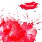 Abstracte vector rode waterverfachtergrond Stock Afbeeldingen