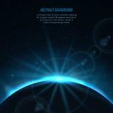 Abstracte vector ruimte fantastische achtergrond met planeet en het toenemen ster Stock Afbeeldingen