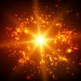 Abstracte vector ruimteachtergrond Explosie van gloeiende deeltjes en lichte stralen Futuristische technologiestijl Stock Foto's