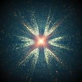 Abstracte vector ruimteachtergrond Explosie van gloeiende deeltjes Futuristische technologiestijl Ele Stock Afbeeldingen