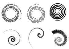 Abstracte vector spiraalvormige elementen, radiale geometrische gestreepte patronen stock illustratie