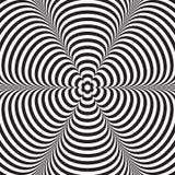 Abstracte vector zwart-witte gestreepte achtergrond Optische illusie Stock Foto