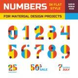 Abstracte vectoraantallen in vlak stijlontwerp voor materiële ontwerp creatieve projecten Geometrische aantallensymbolen Decorati Royalty-vrije Stock Fotografie