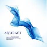 Abstracte vectorachtergrond, blauwe transparante gegolfte lijnen Blauwe rookgolf Stock Foto