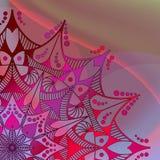 Abstracte vectorachtergrond Mandala op de kleurrijke golfachtergrond Stock Afbeelding
