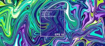 Abstracte vectorachtergrond met de mooie patronen van de fantasieinkt Vloeibare Verf Vloeibaar art. Het ornament van marmer Kleur vector illustratie