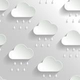 Abstracte Vectorachtergrond met Document Regenachtige Wolken. vector illustratie