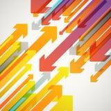 Abstracte vectorachtergrond van verschillende kleurenpijlen Stock Foto