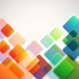 Abstracte vectorachtergrond van verschillende kleurenvierkanten Stock Fotografie