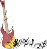 Abstracte vectorachtergrondmuziek, gitaar en nota's royalty-vrije stock afbeelding