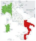 Abstracte vectordiekleurkaart van het land van Italië door nationale vlag wordt gekleurd royalty-vrije illustratie