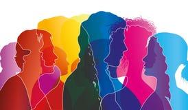 Abstracte vectorgroep overvolle mensen Menigte van mensen Verwarring van mensen Veelvoudige gekleurde blootstelling stock illustratie
