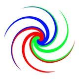 Abstracte vectorillustratie van een kleurrijke spiraal Drie kleuren vector illustratie