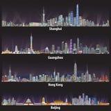 Abstracte vectorillustraties van de horizonnen van Shanghai, van Guangzhou, van Hong Kong en van Peking bij nacht vector illustratie
