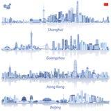 Abstracte vectorillustraties van de horizonnen van Shanghai, van Hong Kong, van Guangzhou en van Peking met kaart en vlag van Chi stock illustratie