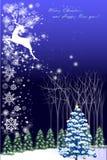 Abstracte vectorillustraties van Kerstmis geeting kaart met rendier - vectoreps10 Stock Foto