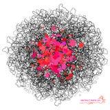 Abstracte vectorkrabbelachtergrond Zwart en roze ovaal die, deeltjes grunge textuur stippelen Stock Fotografie
