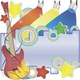Abstracte vectormuziekachtergrond met een gitaar en kleurrijke schijnwerpers stock afbeelding