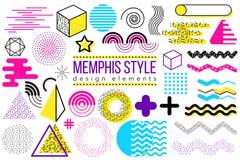 Abstracte vectorontwerpelementen Memphis Royalty-vrije Stock Foto's