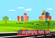 Abstracte vectorstad Plattelandsweg in groene heuvels, elektrische trein stock illustratie