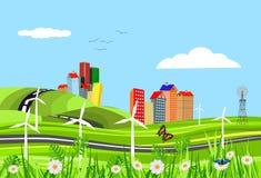 Abstracte vectorstad Plattelandsweg in groene heuvels, tractor, Vectorart. vector illustratie