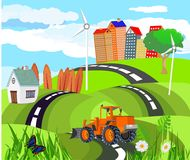 Abstracte vectorstad Plattelandsweg in groene heuvels, tractor, Vectorart. stock illustratie