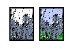 Abstracte vectortekening Tsunami, lawine dalende rotsen, de kracht van aard Royalty-vrije Stock Foto