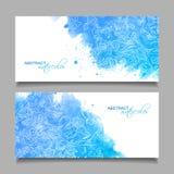 Abstracte Vectorwaterverf Blauwe Banners Stock Foto's