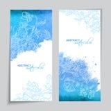 Abstracte Vectorwaterverf Blauwe Banners Stock Fotografie