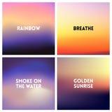 Abstracte vectorzonsondergang vage reeks als achtergrond Vierkant vage achtergrond - de kleuren van hemelwolken met liefdecitaten Stock Afbeelding