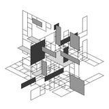 Abstracte veelhoekige achtergrond met rechthoekige vormen in perspectief, retro bauhaus DE stijl ontwerp vector illustratie