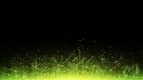Abstracte veelhoekige achtergrond van verbonden driehoeken en punten Gloeiende deeltjes en groene stralen van licht Lichtgevende  Royalty-vrije Stock Foto's