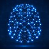 Abstracte veelhoekige hersenen met gloeiende punten en lijnen Stock Afbeelding