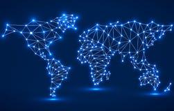 Abstracte veelhoekige wereldkaart met gloeiende punten en lijnen Stock Fotografie