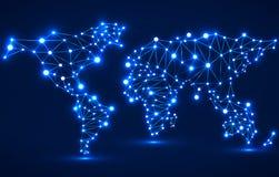 Abstracte veelhoekige wereldkaart met gloeiende punten en lijnen, netwerkverbindingen Stock Afbeeldingen