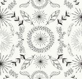 Abstracte veer en bloemen naadloos patroon Royalty-vrije Stock Fotografie