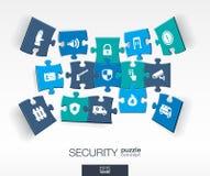 Abstracte Veiligheidsachtergrond met verbonden kleurenraadsels, geïntegreerde vlakke pictogrammen 3d infographic concept met tech royalty-vrije illustratie