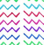 Abstracte verfijnde prachtige elegante grafische mooie kleurrijke gebroken van de het patroonwaterverf van de lijnenzigzag de han Stock Foto's