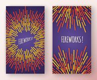 Abstracte verticale banners met multicolored vuurwerkvormen en exemplaar ruimtekader Stock Afbeelding