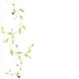 Abstracte verticale bloemenachtergrond met plaats voor uw tekst Vectortak met bladeren en harten voor groet en uitnodigingsauto Royalty-vrije Stock Afbeelding