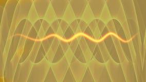 Abstracte video met een vurige sinusgolf Moderne fantasie futuristische film op gouden geweven achtergrond Moderne fantasie vector illustratie