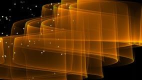 Abstracte video met oranje golvend transparant element en vliegende schitterende deeltjes Moderne fantasie futuristische film  vector illustratie