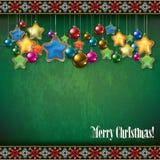 Abstracte vieringsgroet met Kerstmisdecor vector illustratie